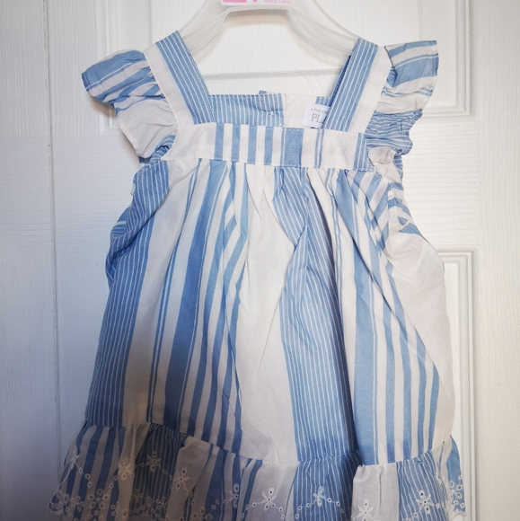 Blue and white dress with bloomers